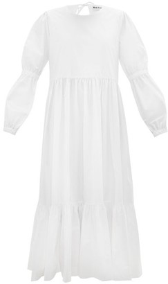 Molly Goddard Evangeline Tiered Cotton-poplin Midi Dress - White