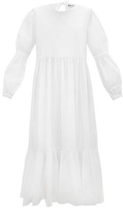 Molly Goddard Evangeline Tiered Cotton-poplin Midi Dress - White
