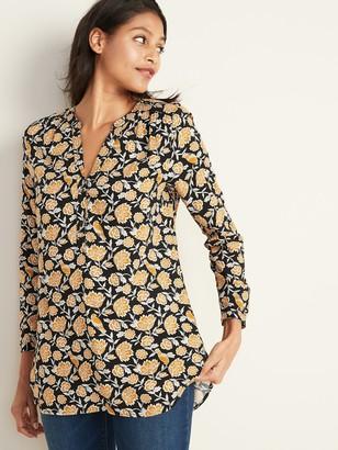 Old Navy Floral-Print Popover Split-Neck Tunic for Women