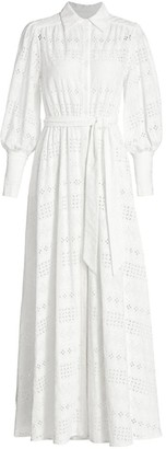 Milly Linear Eyelet Maxi Shirtdress