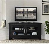 Walker Edison Black Wood 44-inch Corner TV Stand