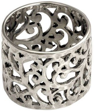 Novica Artisan Crafted Sterling Wide Scroll Band Ring
