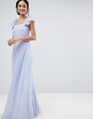 Asos Design Square Neck Ruffle Strap Maxi Dress with Panelled Skirt-Blue