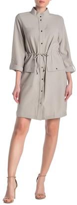 Sharagano Button Front Gathered Waist Dress
