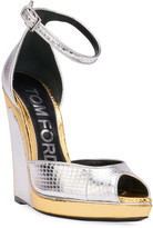 Tom Ford Trompe L'oeil Wedge Snakeskin Sandals