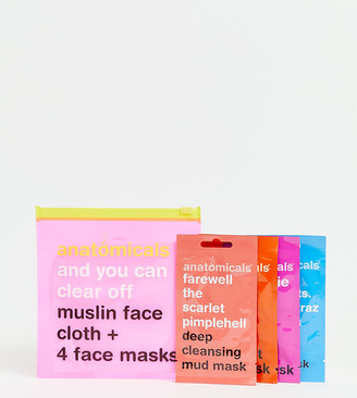 Anatomicals ASOS Exclusive And You Can Clear Off. Muslin Face Cloth and 4 Face Masks