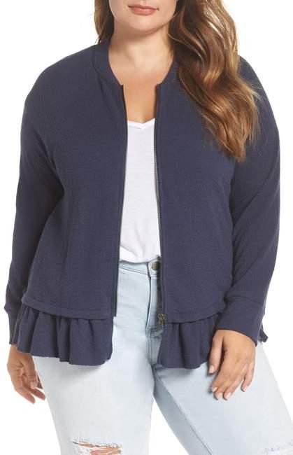 Knit Peplum Jacket (Plus Size)