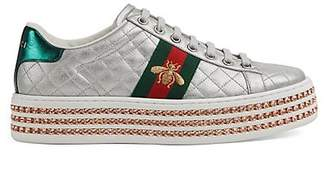 Gucci Women's New Ace Quilted Leather Platform Sneakers - Silver