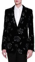 Alexander McQueen Floral-Embellished Velvet Evening Jacket, Black