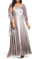 Komarov Plus Size Women's Lace-Up Back Ombre Gown & Shawl
