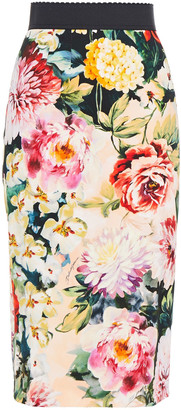 Dolce & Gabbana Floral-print Crepe Skirt
