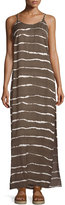 Halston Sleeveless Side-Slit Maxi Dress, Sage Dip Dye