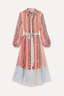 Temperley London Sweetpea Belted Printed Silk-chiffon Shirt Dress - Red