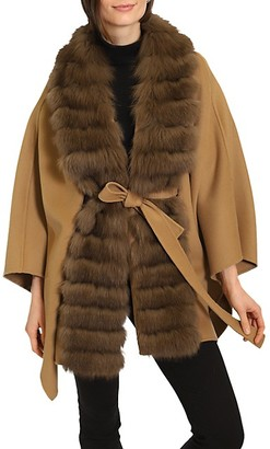 Belle Fare Fox Fur Collar Wool Cashmere Wrap Coat
