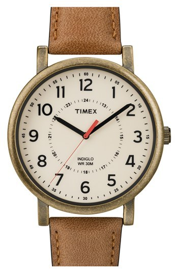 Timex Antiqued Case & Leather Strap Watch, 42mm