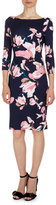 Erdem Reese 3/4-Sleeve Floral-Print Dress, Navy/Pink