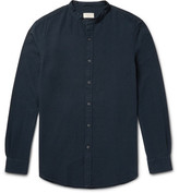 Club Monaco Slim-fit Grandad-collar Cotton-seersucker Shirt - Midnight blue