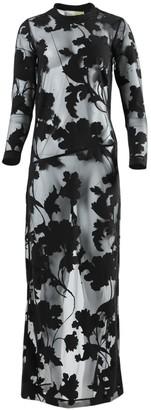 Sheer Floral Devore Maxi Dress Black