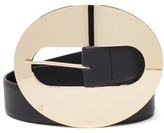 Thumbnail for your product : Paco Rabanne Oversized-buckle Leather Belt - Black