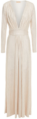 Melissa Odabash Belted Metallic Striped Knitted Maxi Dress