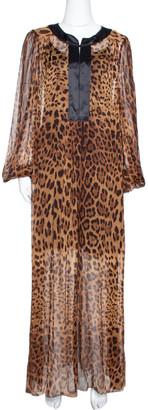 Dolce & Gabbana Brown Leopard Print Silk Sheer Kaftan Dress M