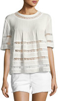 Alexis Eniko Short-Sleeve Pleated Top, White