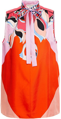 Emilio Pucci Pussy-bow Printed Silk-twill Blouse
