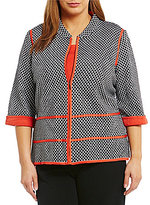 Ming Wang Plus Mandarin Collar Zip Front Jacket