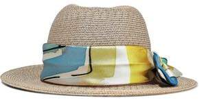 Eugenia Kim Lillian Printed Faille-trimmed Woven Straw Hat