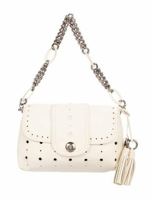 Marc Jacobs Lasercut Leather Shoulder Bag Silver