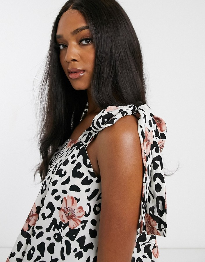 Thumbnail for your product : Forever U Collection tiered midaxi smock dress in animal floral
