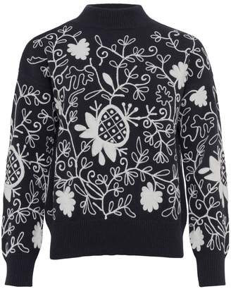 French Connection Sacha Embroidered Knit High Jumper