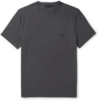 Prada Slim-Fit Logo-Embroidered Stretch Cotton-Jersey T-Shirt