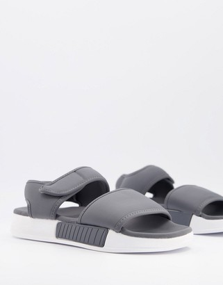 ASOS DESIGN padded lounge slider sandals in dark grey
