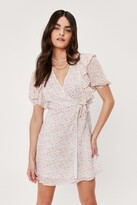 Thumbnail for your product : Nasty Gal Womens Ditsy Floral Print Wrap Mini Dress - White - 10