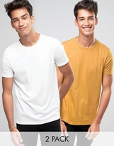 Asos 2 Pack T-Shirt In White/Yellow SAVE