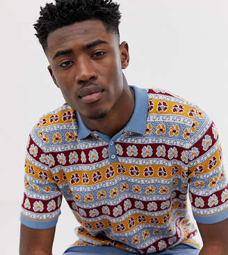 Asos Design DESIGN Tall knitted polo with floral design-Blue