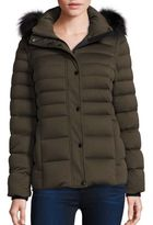 Andrew Marc Fox Fur-Trim Convertible Down Puffer Jacket