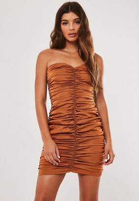 Missguided Rust Satin Ruched Bandeau Mini Dress