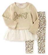 Juicy Couture juicycoutureTM 2-Piece French Terry Top and Print Legging Set in Gold