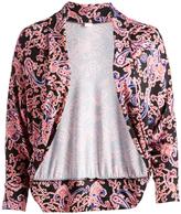 Glam Black & Coral Shawl-Collar Round-Hem Open Cardigan - Plus