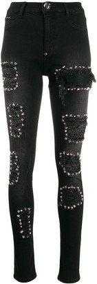 Philipp Plein High Waist Jegging studded jeans