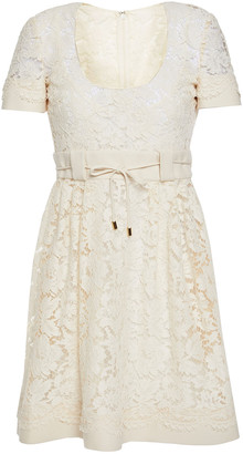 Valentino Belted Cotton-blend Twill And Corded Lace Mini Dress