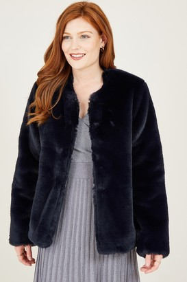 Yumi Navy Collarless Faux Fur Coat