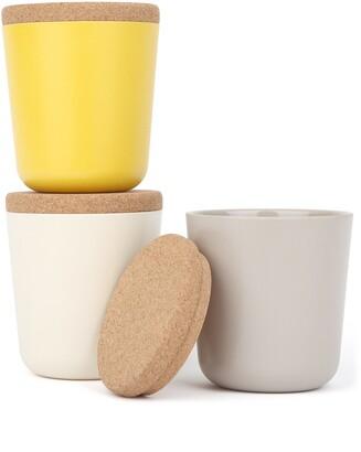Ekobo Biodegradable Bamboo & Melamine 3-Piece Large Storage Jar Set