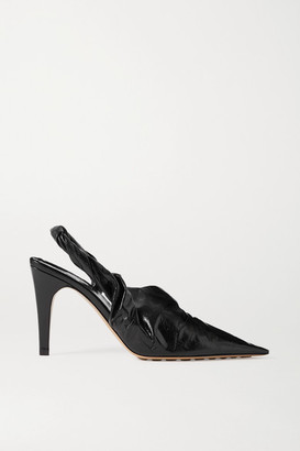 Bottega Veneta Crinkled Glossed-leather Slingback Pumps - Black