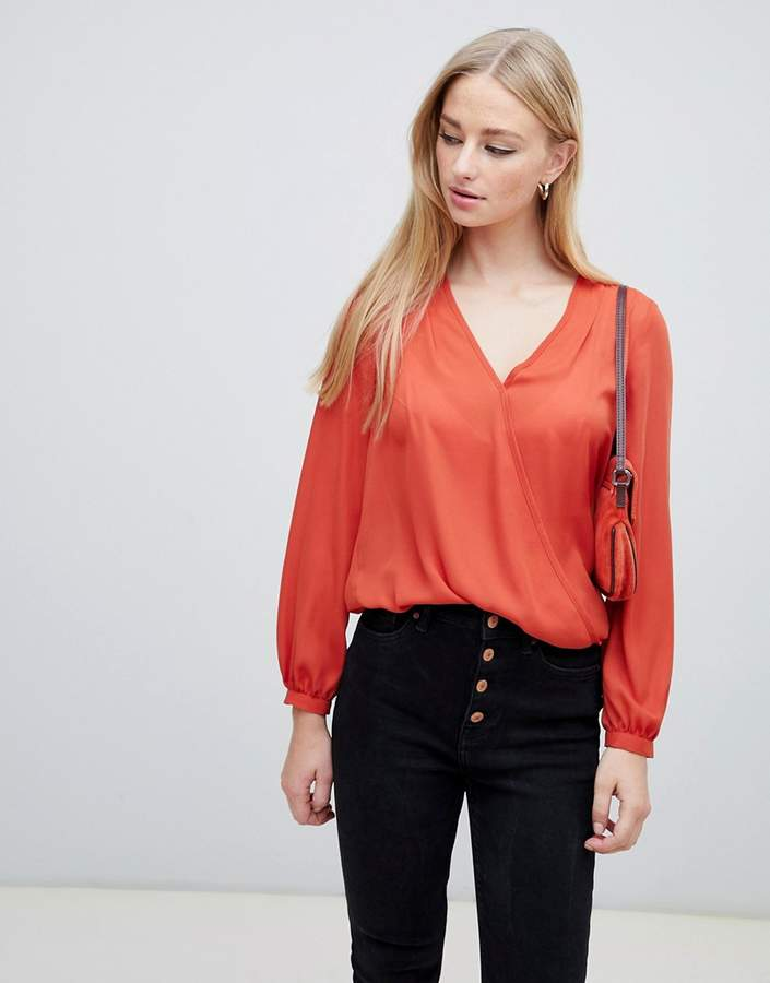 New Look Long Sleeve Wrap Top