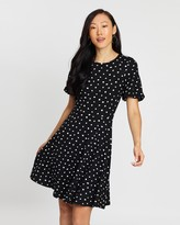 Dorothy Perkins Puff Sleeve Fit-And-Flare Spot Dress
