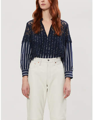 Sandro Floral lace and cotton-poplin shirt