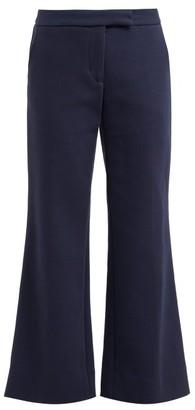 Marina Moscone - Kick-flare Wool-blend Twill Trousers - Navy